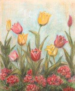 Vintage pastel drawing still life tulips
