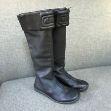 Camper Women Black Leather Moto Boots Knee High Tall Front Zip Spain Artsy 36 6