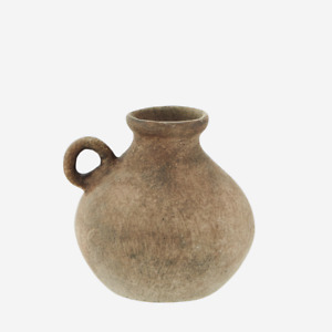 Small Rust Brown Washed Terracotta Vase w Handle, Rustic Urn for Dried Flowers
