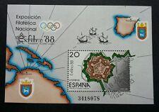 Spain Exfilna 1988 Sailboat Ship Map (miniature sheet) MNH