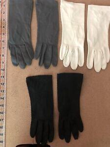 Vintage Kay Gloves 100% Cotton Lot Of 3 Pair Black Gray Tan Same Style