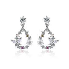 Women's Elegant 925 Sterling Silver Zircon Butterfly Flower Stud Earrings Gift
