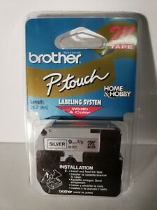 Genuine Brother P-Touch M-921 9mm Black on Silver M Tape - NEW