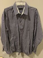 Jared Lang Mens Shirt Size L Button Down Stripe Navy Blue