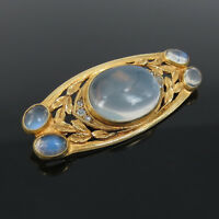 Art Nouveau American Rose Cut Diamond & Moonstone 14K Yellow Gold Brooch Pin