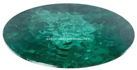 "24"" Marble Round Coffee Table Top Semi Inlaid Malachite Mosaic Home Decor H2459A"