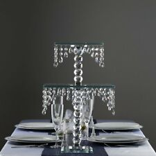 "Clear Glass Crystal 21"" tall Square Cake Riser Stand Wedding Centerpiece Sale"