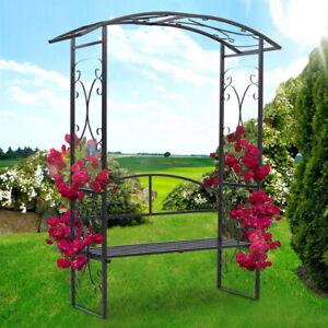 2.3m Garden Arch Trellis with Seat Tubular Frame Arbour Plant Climbing Archway