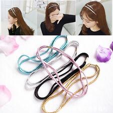 3pcs Women's Double Strand Metallic Glitzy Elastic Forehead Hair Band Headband