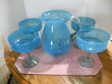 Blown Glass Blue Swirled Margarita Set 4 Glasses & Margarita Pitcher