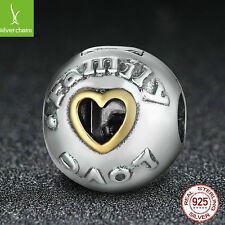 925 sterling silver & 14K Gold Family and Love Clip Charm Beads Jewelry