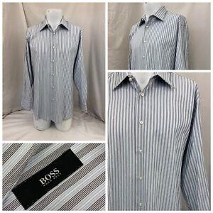 Hugo Boss Shirt 16.5 32 Gray Blue Stripe Cotton LNWOT YGI T1-281