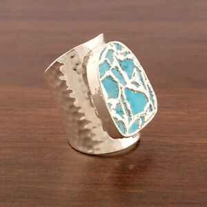 Amazing Copper Turquoise Silver Plated Hammered Finish Big Band Adjustable Ring