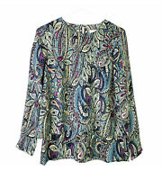 J Jill Women's Floral Paisley Tunic Shirt Long Sleeve Blouse Top Green XS NWT!