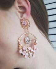 Long Drop Earrings Immitation Acrylic Pink Flower Dangle Earring Round Drop
