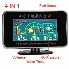 Car LCD 4 IN 1 Water Temperature Meter/Oil Pressure Fuel/Voltage Volt Gauge