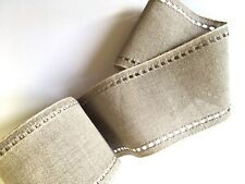 """50 cm Natural Raw Linen evenweave band with detailed edge 3.5"""" 9cm wide Zweigart"""