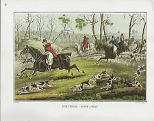"1972 Vintage Currier & Ives HUNTING ""FOX CHASE"" ON HORSES COLOR Print Lithograph"