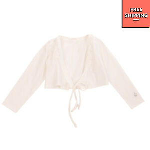 MUFFIN & CO. Cardigan Size 36M / 3Y Ruffle Trim Self Tie Front Made in Italy