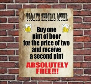 TODAY'S SPECIAL OFFER PUB BEER BAR FUNNY METAL WALL SIGN GIFT PRESENT LANDLORD