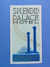 Alter Hotelaufkleber aus Offiziersnachlass  Splendit Palace Hotel Athen Athènes