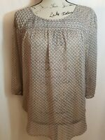 Lauren Conrad Womens Size Medium Blouse 3/4 Sleeve Scoop Neck Sheer Floral Brown