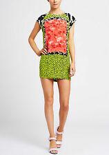 Shakuhachi Square Print T-Shirt Dress Acid Multi NEW Size 8 S RRP $342 100% Silk