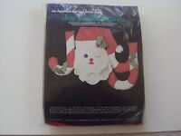Vintage 1982 JOY Santa Head Appliqué Christmas Wall Hanging Kit NEW