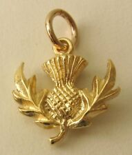 SOLID 9K 9ct YELLOW GOLD 3D  SCOTTISH THISTLE CHARM/PENDANT RRP $175