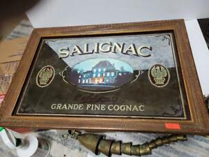 Vintage SALIGNAC Grande Fine Cognac Bar Mirror 22 x 15