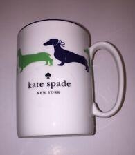 Kate Spade Lenox Wickford Dachshund Coffee Mug Green Navy - NWT