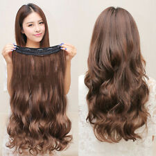 5 Clips Hair Extensions Curly Brown Black Synthetic Hair Extension 60cm