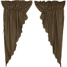 "Black Check Scalloped Prairie Curtains by VHC Brands - 63"" x 36"" Lined"