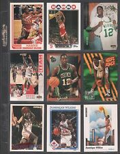DOMINIQUE WILKINS ~Lot of (9) Different Basketball Cards w/ Display Sheet~ L348