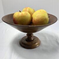 Vintage Walnut Footed Pedestal Fruit  Bowl Dish Lebanon Supply Co. Heirloom Wood