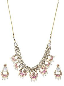 Pearls Gold Tone Kundan & Pearl Traditional Necklace Set For Women-a491