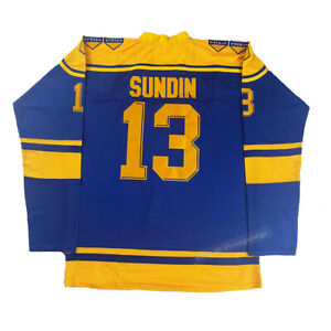 1991 Canada Mats Sundin #13 Team Sweden Hockey Jerseys Sewn Custom Names Numbers