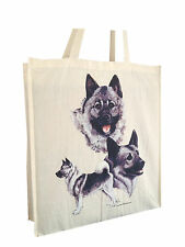 Norwegian Elkhound Cotton Shopping Tote Bag with Gusset and Long Handles