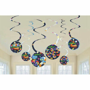 Slither.io Hanging Spiral Decorations Video Game Birthday Party Supplies Dangler