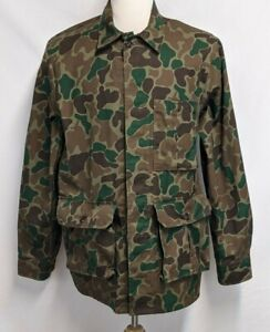 Woolrich Mens L Vintage Green Brown Camo Cotton Poly Long Sleeve Hunting Shirt