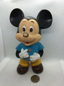 Walt Disney Productions Plastic Mickey Mouse in Clothes Toy 1960's Japan