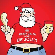 Merry Christmas Card with Santa & Keep Calm -Funny Christmas Card -Xmas Card