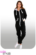 Womens Plain Onesie Ladies All in One Hooded Zip Up Jumpsuit Playsuit S-5XL 8-24