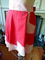 Half Apron Patchwork Vtg 60s Red & White Cotton TLC Fix up