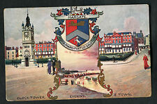 C1910 Illustrated Card: People, Clock Tower & Crest, Margate