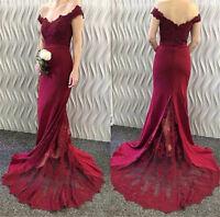 Mermaid Off-the-Shoulder Burgundy Evening Prom Bridesmaid Dresses Lace Applique
