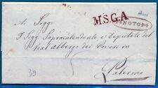 1839 Rara Prefilatelica da Noto a Palermo  MSAG Firmata dott. Buonocore