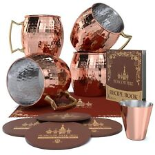 Krown Kitchen - Hammered Moscow Mule Copper Mug Set of 4| Stainless Steel (K6F)