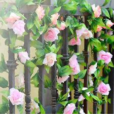2 X 8Ft Artificial Rose Garland Silk Flower Vine Ivy Wedding Garden String Decor