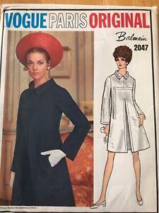 Vintage 60s 70s sewing pattern dress Vogue Paris Original Balmain 2047